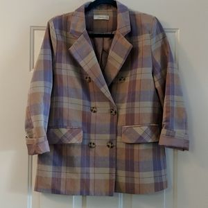 ❌SOLD❌F and z plaid summer blazer pastel colors